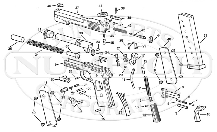 1911 Schematic | Numrich pertaining to Sig Sauer 1911 Parts Diagram