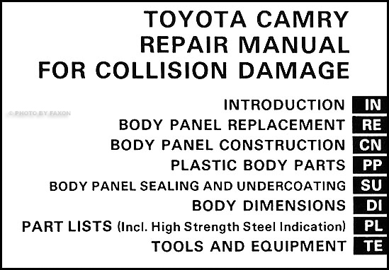 1983-1986 Toyota Camry Body Collision Repair Shop Manual Original for 2000 Toyota Camry Parts Diagram