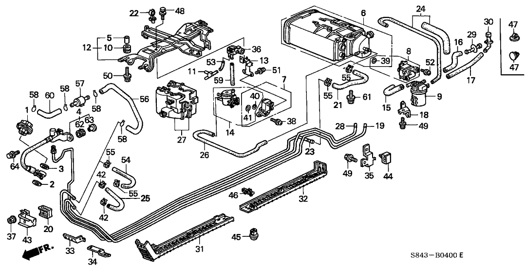1999 Honda Accord 4 Door Lx (Ul) Kl 4At Fuel Pipe - Hondapartsnow inside 2000 Honda Accord Parts Diagram