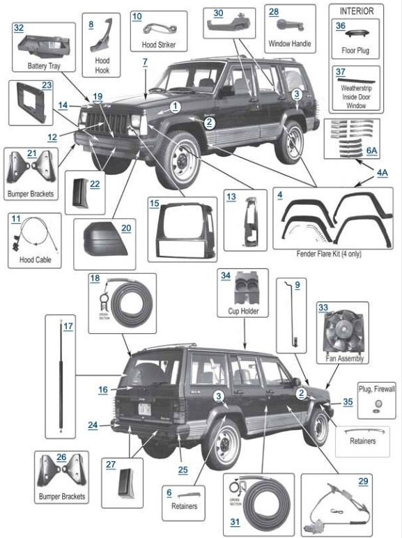 1999 jeep cherokee parts diagrams automotive parts. Black Bedroom Furniture Sets. Home Design Ideas
