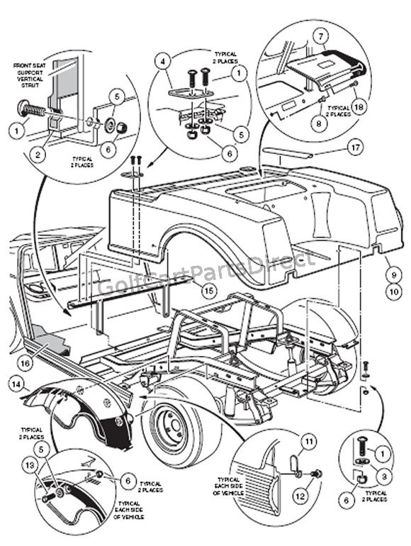 2000-2005 Club Car Ds Gas Or Electric - Club Car Parts & Accessories throughout Club Car Ds Parts Diagram