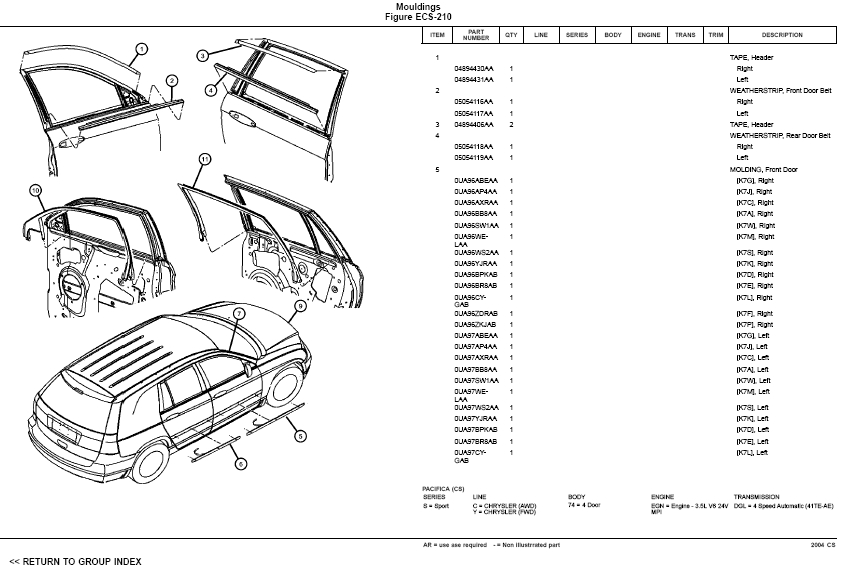 2004 Chrysler Pacifica Parts Images - Reverse Search with 2006 Chrysler Pacifica Parts Diagram