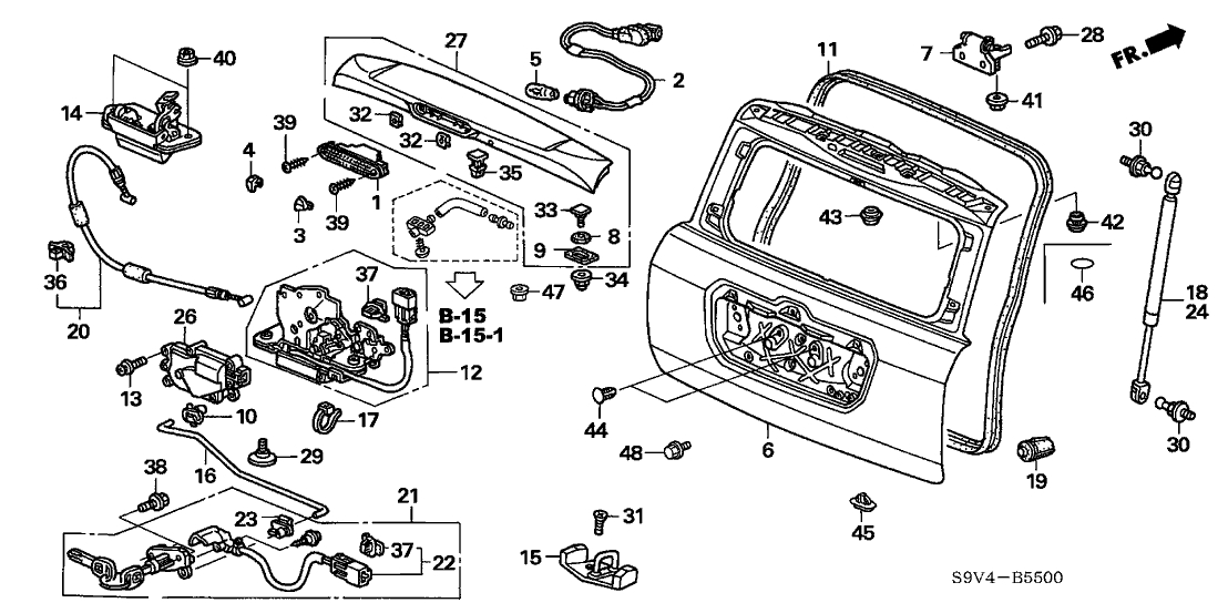 2005 Honda Pilot 5 Door Lx Ka 5At Tailgate - Hondapartsnow regarding 2005 Honda Pilot Parts Diagram