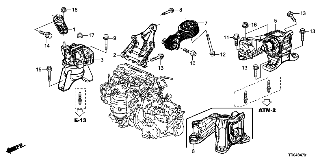 2012 Honda Civic 4 Door Dx Ka 5At Engine Mounts - Hondapartsnow throughout 2012 Honda Civic Parts Diagram