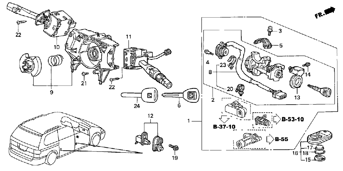 35130-S0X-A02 - Genuine Honda Switch, Steering pertaining to 2003 Honda Odyssey Parts Diagram
