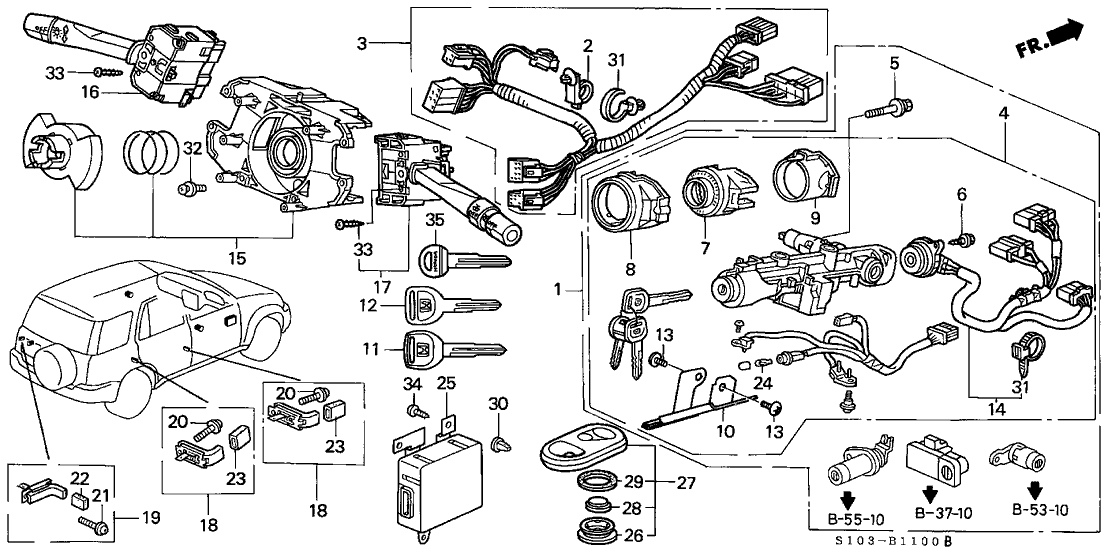 35130-S10-A01 - Genuine Honda Switch, Steering with 2001 Honda Crv Parts Diagram