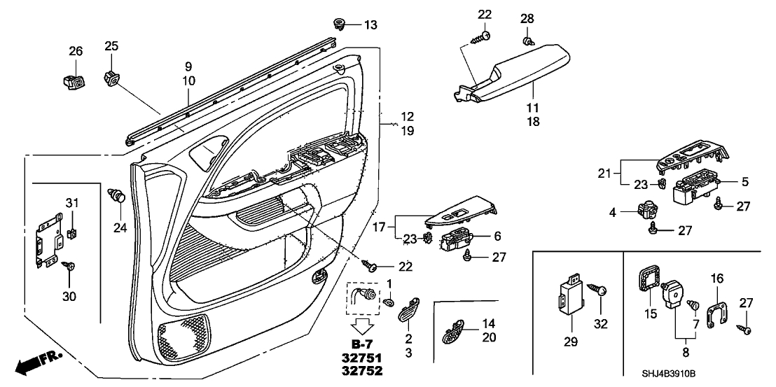 35750-Shj-A24 - Genuine Honda Switch Assy., Power Window Master intended for 2005 Honda Odyssey Parts Diagram