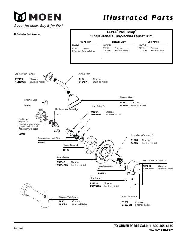 38 Moen Shower Valve Replacement Parts, Moen 82910Brb Tub And within Moen Shower Head Parts Diagram