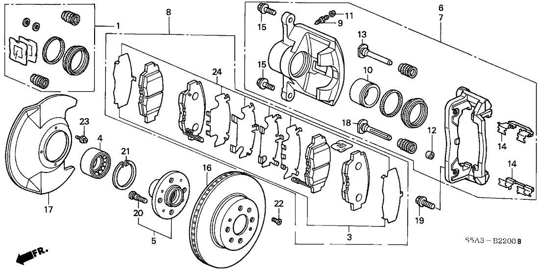 45022-S5D-405 - Genuine Honda Set Pad Fr regarding 2001 Honda Civic Parts Diagram