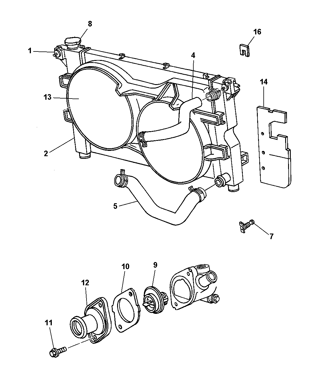 4781661Aa - Genuine Mopar Gasket-Thermostat in 2001 Chrysler Town And Country Parts Diagram