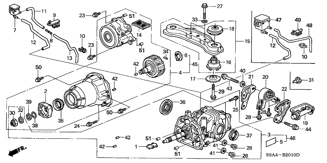 50711-S9A-000 - Genuine Honda Rubber A, Rr. Differential Insulator inside 2002 Honda Crv Parts Diagram