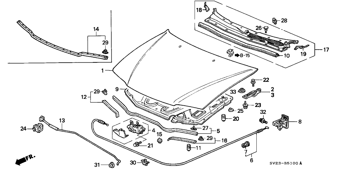 60100-Sv4-010Zz - Genuine Honda Hood, Engine inside 1997 Honda Accord Parts Diagram