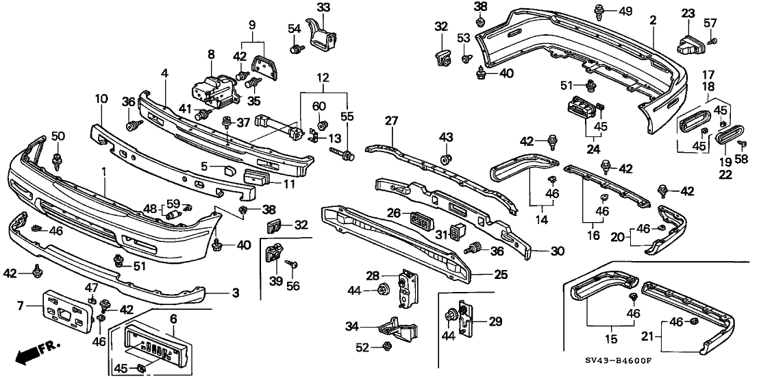 91503-Sz3-003 - Genuine Honda Clip A, Bumper for 1997 Honda Accord Parts Diagram