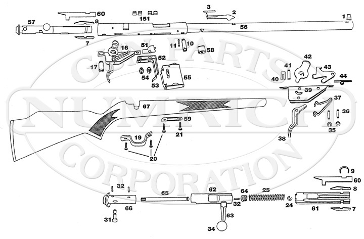93 Rifle Schematic | Numrich throughout Savage Model 110 Parts Diagram