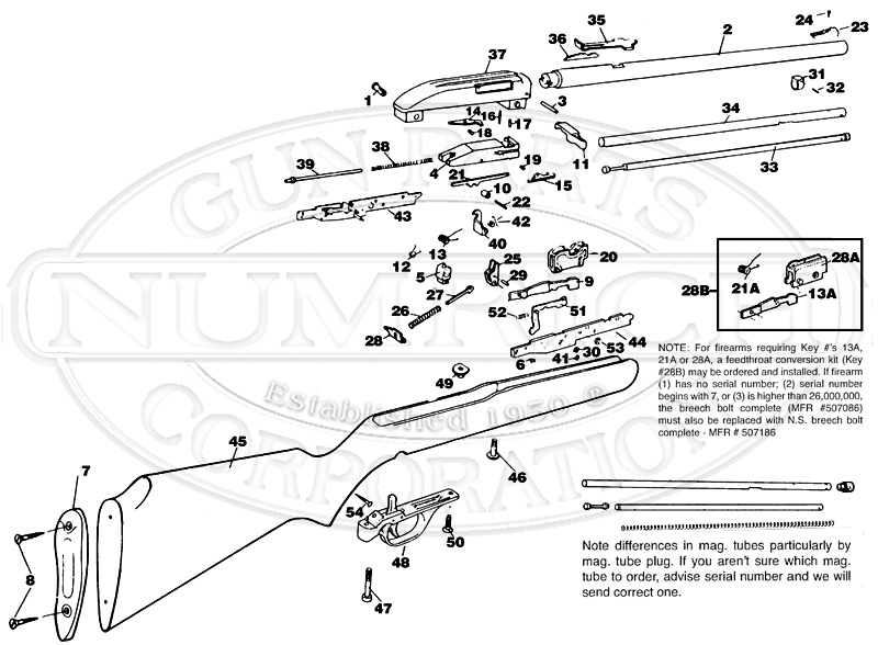 990 Schematic | Numrich pertaining to Marlin Model 60 Parts Diagram
