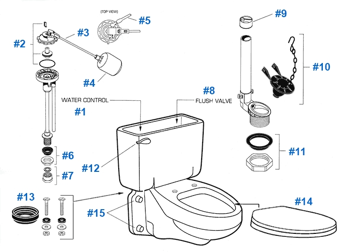 American Standard Toilet Repair Parts For Glenwall Series Toilets with regard to American Standard Toilet Parts Diagram