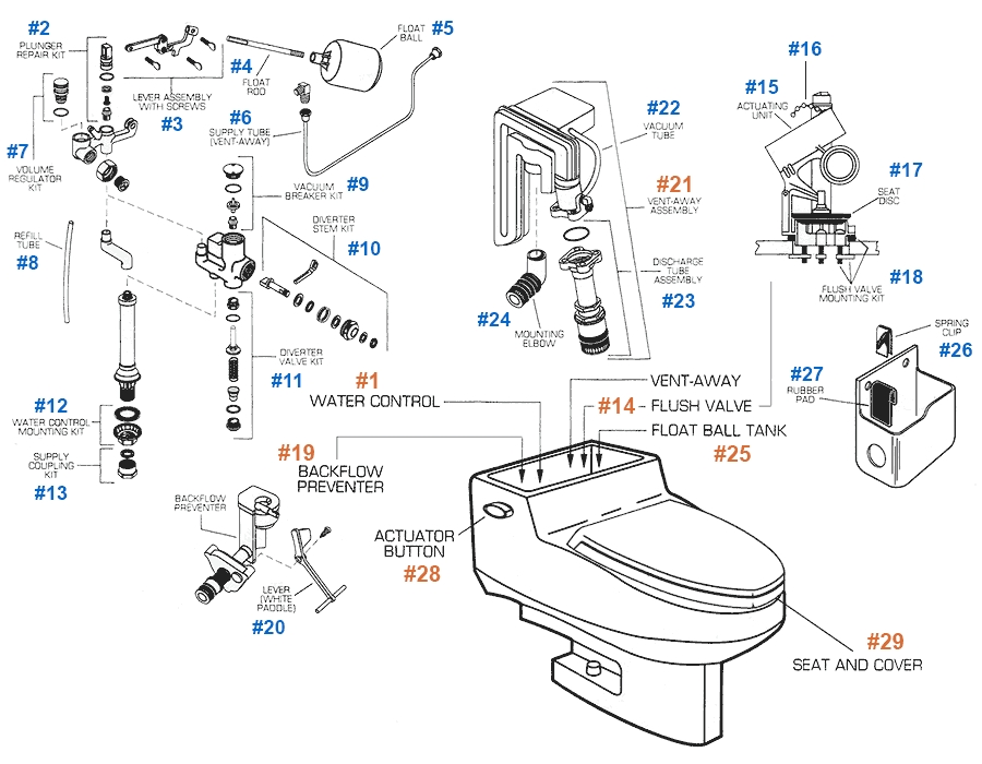 American Standard Toilet Repair Parts For Roma Series Toilets with regard to American Standard Toilet Parts Diagram