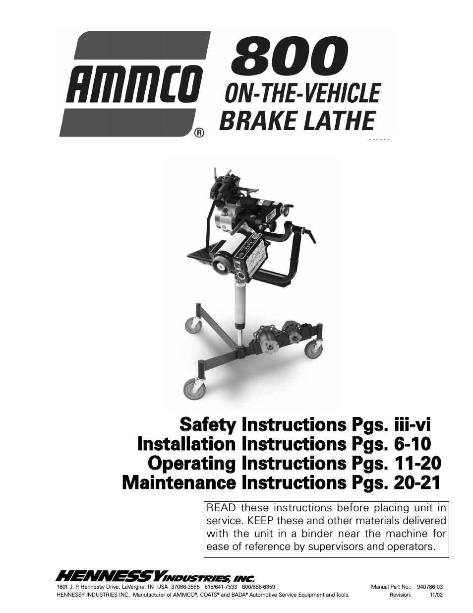 Ammco 800 On-The-Vehicle Brake Lathe User Manual | 28 Pages with Ammco 4000 Brake Lathe Parts Diagram