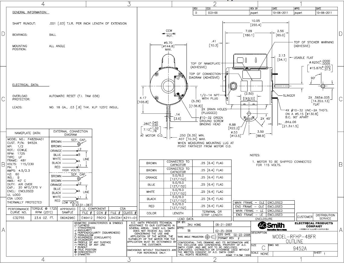 Ao Smith Motor Wiring Diagram - Linafe in Ao Smith Pool Pump Motor Parts Diagram