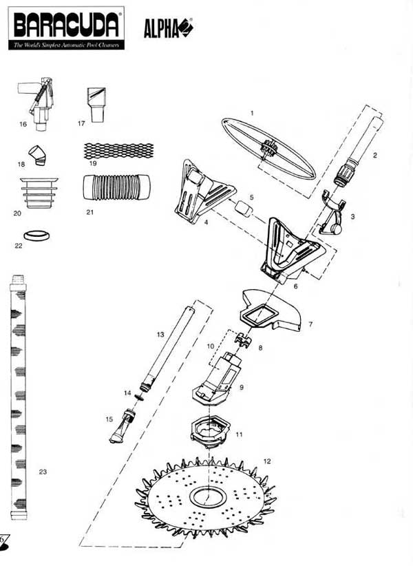 Baracuda Alpha 2, Replacement Parts Diagram with regard to Baracuda Pool Cleaner Parts Diagram