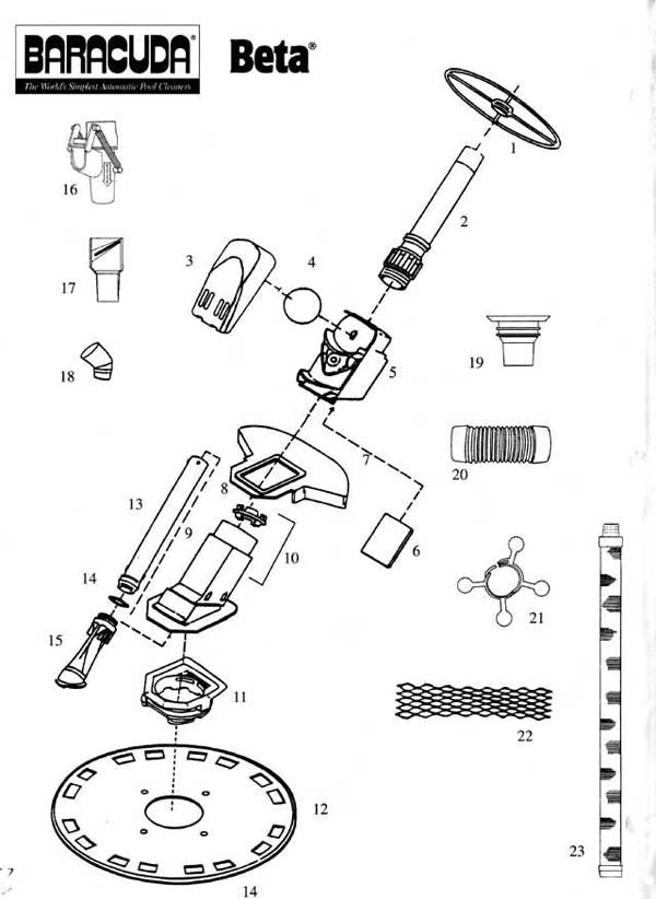 Baracuda Beta, Replacement Parts Diagram within Baracuda Pool Cleaner Parts Diagram