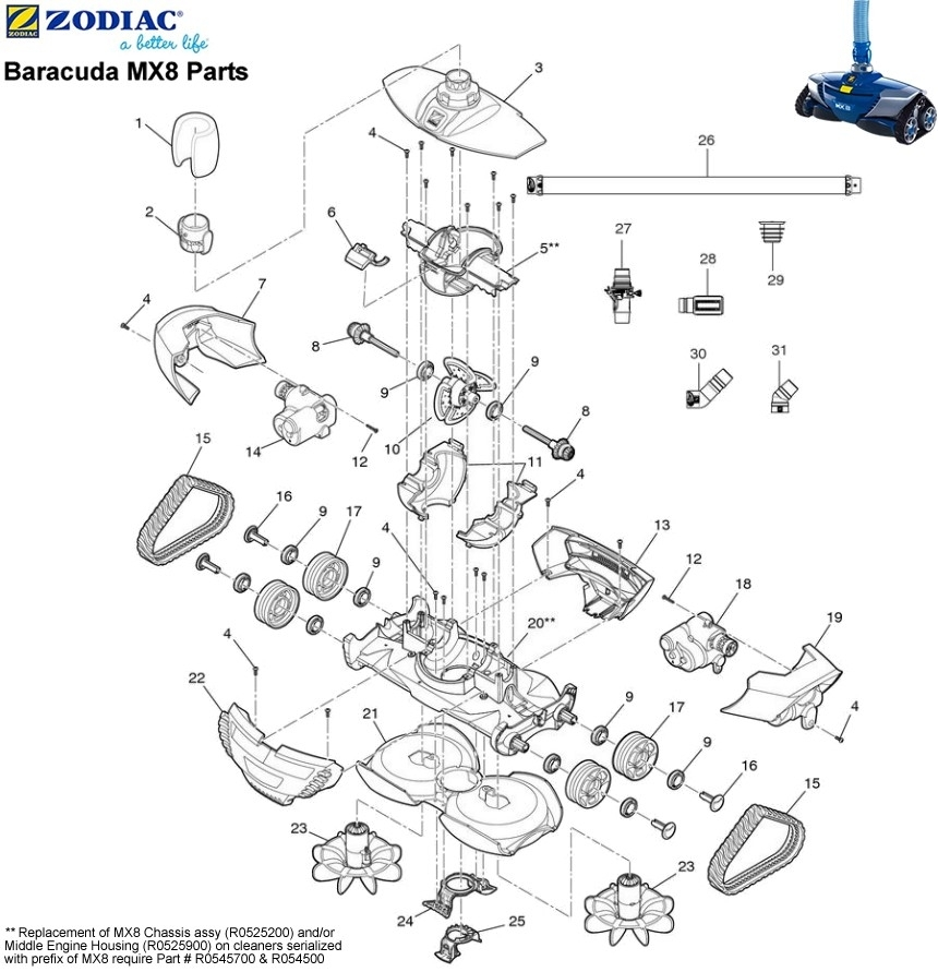 Baracuda Pool Cleaner Parts Diagram | Zodiac Mx8 Pool Cleaner with Baracuda Pool Cleaner Parts Diagram
