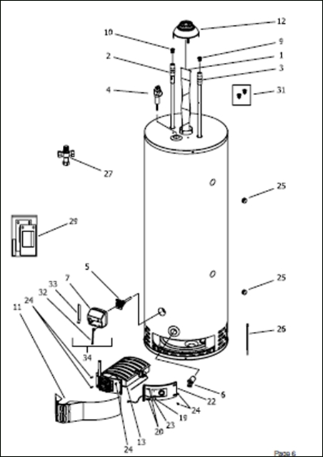 Bradford White Replacement Parts regarding Hot Water Heater Parts Diagram