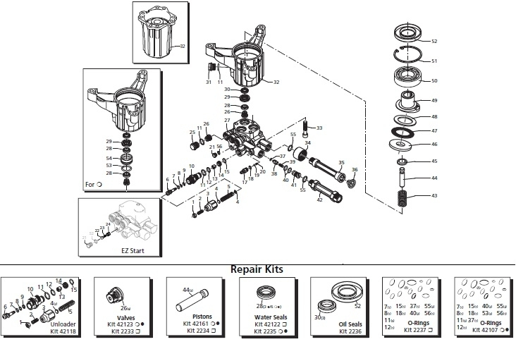 Briggs & Stratton 020453-0,-1 Powerboss Replacement Parts, Pump regarding Pressure Washer Pump Parts Diagram