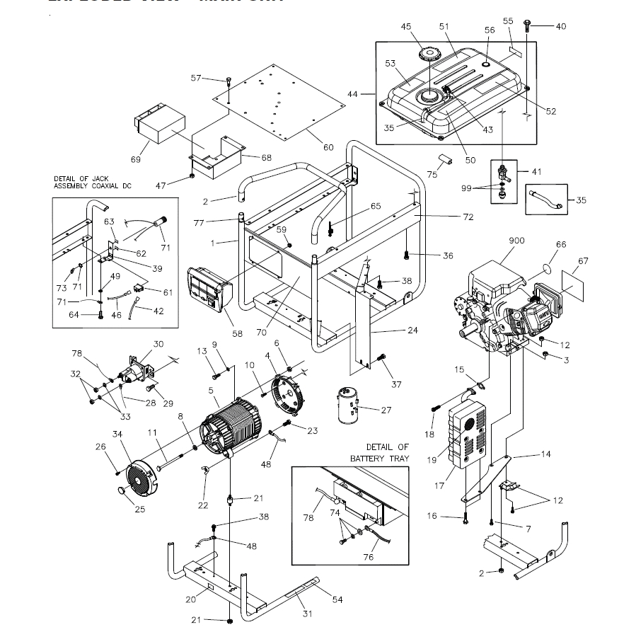 Briggs & Stratton 30466, 030466-0 Generator Parts within Briggs And Stratton Generator Parts Diagram