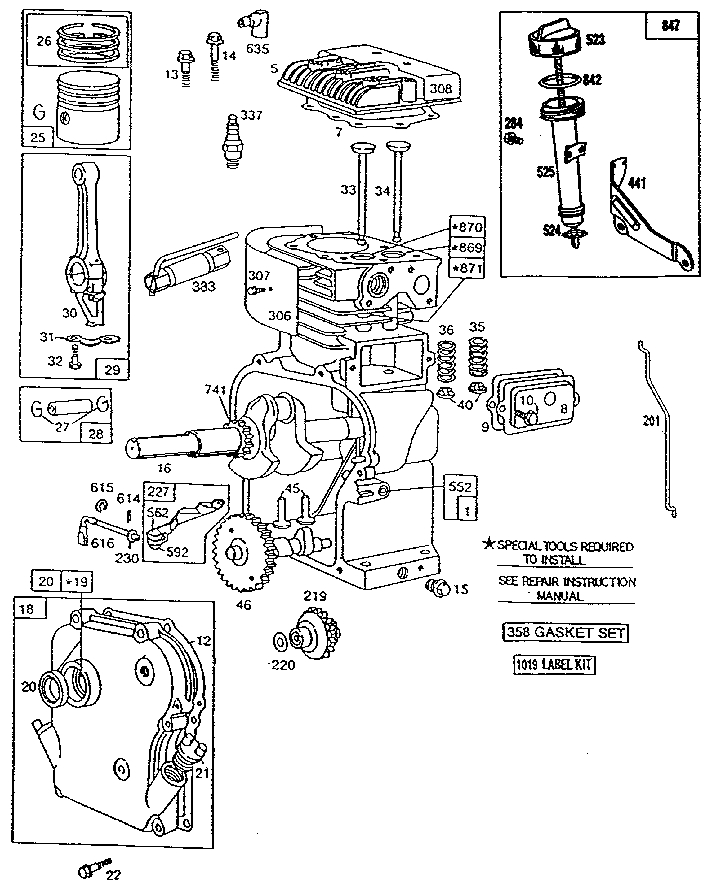 Briggs & Stratton 5 Hp Engine Parts | Model 130212325001 | Sears in Briggs Stratton Engine Parts Diagram