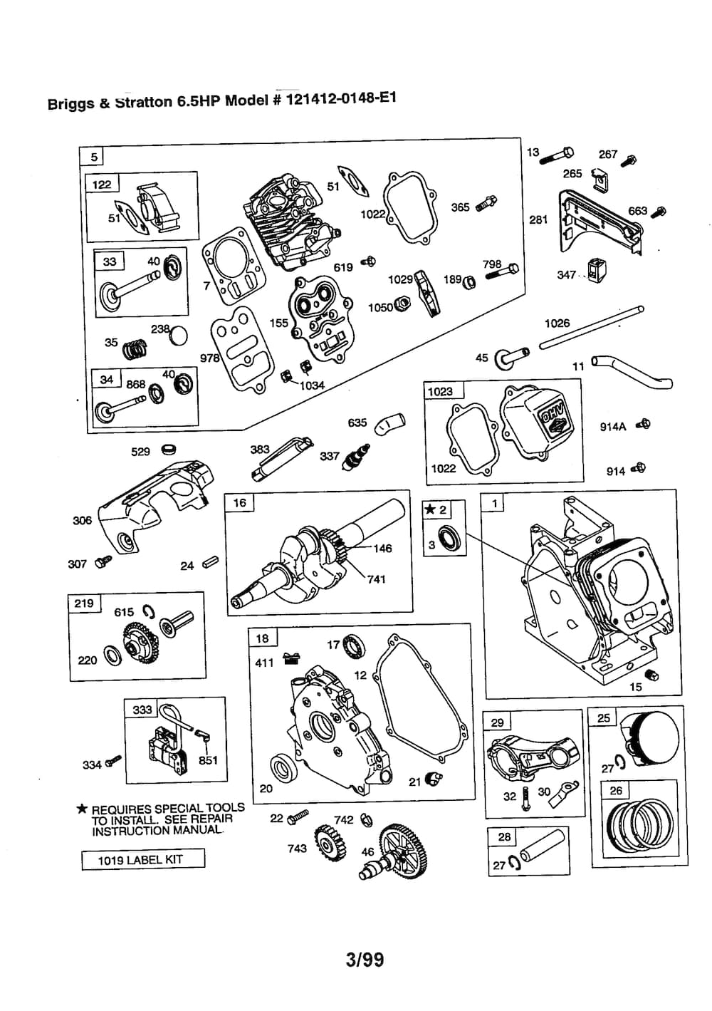 Briggs & Stratton 6.5 Hp Engine Parts | Model 1214120148E1 | Sears in Briggs And Stratton Engine Parts Diagram