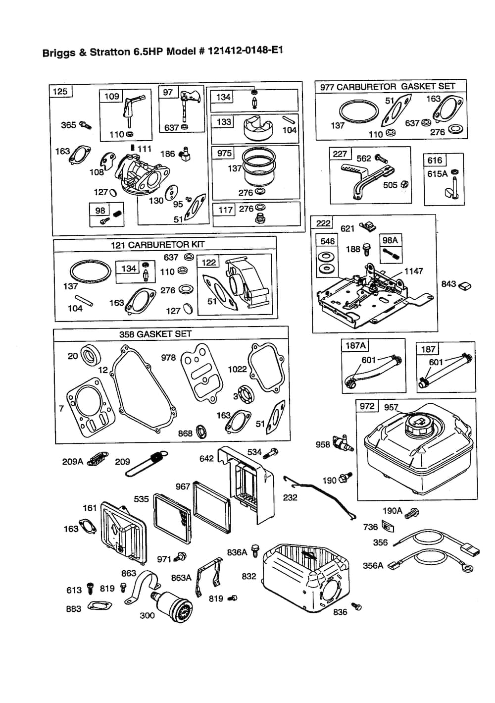 Briggs & Stratton 6.5 Hp Engine Parts | Model 1214120148E1 | Sears with regard to Briggs And Stratton Carburetor Parts Diagram