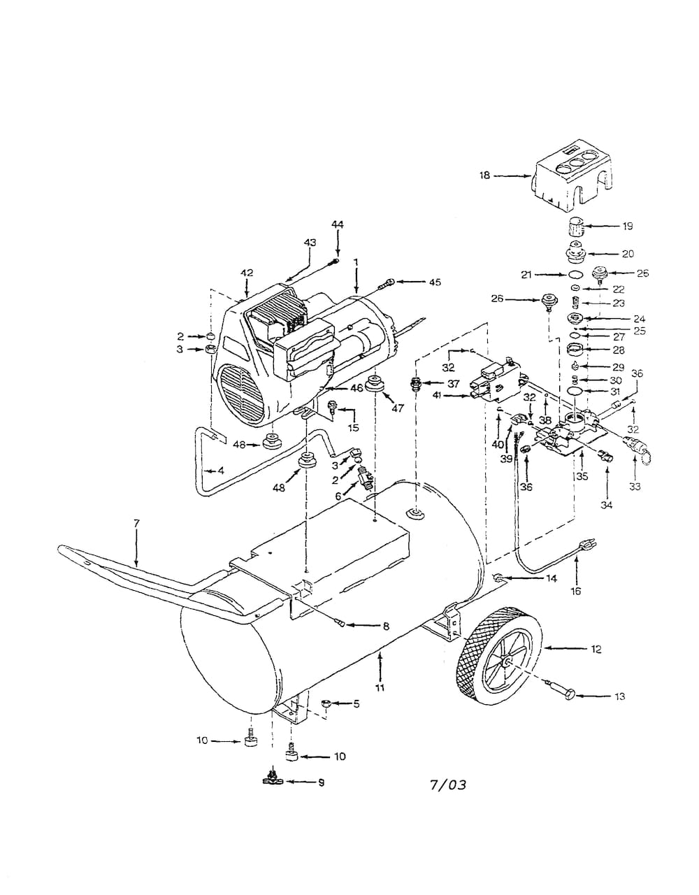 Campbell-Hausfeld Portable Air Compressors Parts | Model Wl6007 for Campbell Hausfeld Air Compressor Parts Diagram