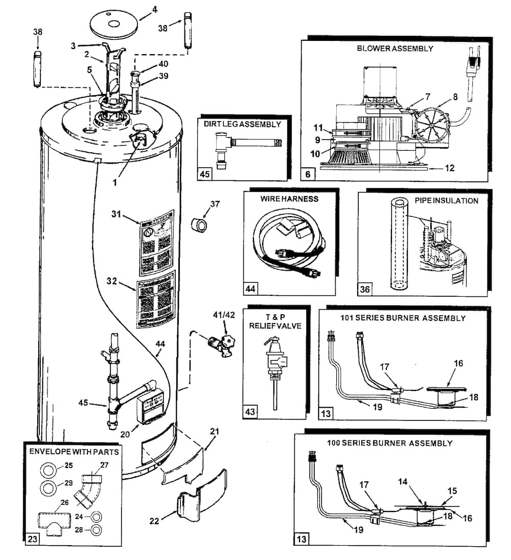Electric hot water heater parts diagram automotive
