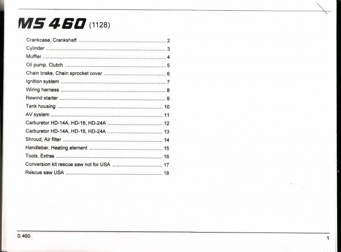 Chain Saw Parts List Stihl Ms460 for Stihl Ms 460 Parts Diagram