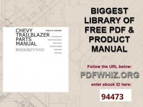 Chevy Trailblazer Parts Manual - Youtube inside 2002 Chevy Trailblazer Parts Diagram