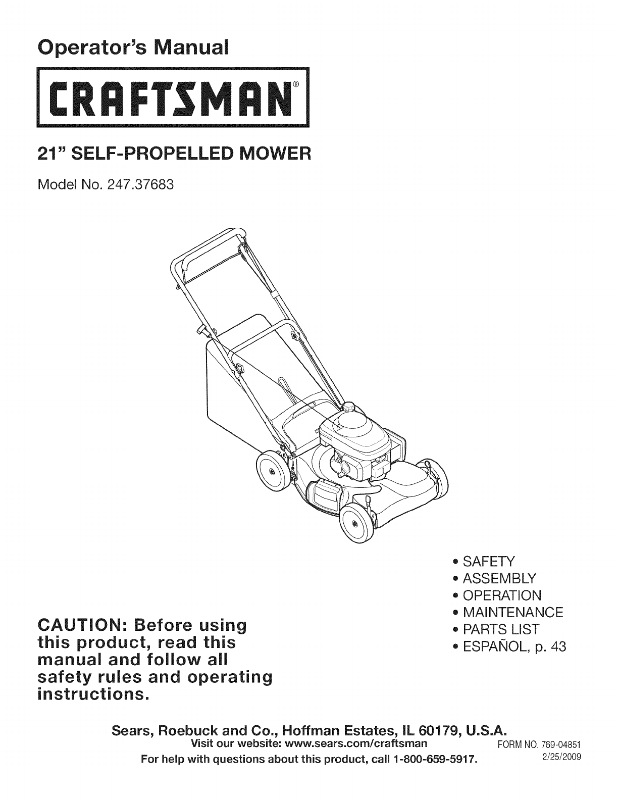 Craftsman Lawn Mower 247.37683 User Guide | Manualsonline in Craftsman Self Propelled Lawn Mower Parts Diagram