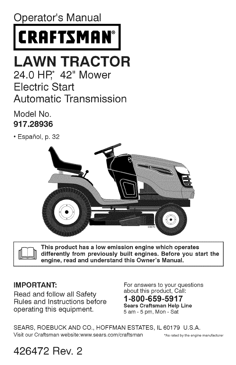 Craftsman Lawn Mower Yt 4000 User Guide | Manualsonline inside Craftsman Riding Lawn Mower Parts Diagram