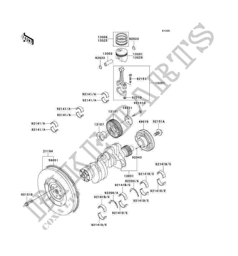 Crankshaft - Piston Kawasaki Mule 2510 Diesel No_Year 950 Kaf950 intended for Kawasaki Mule 2510 Parts Diagram