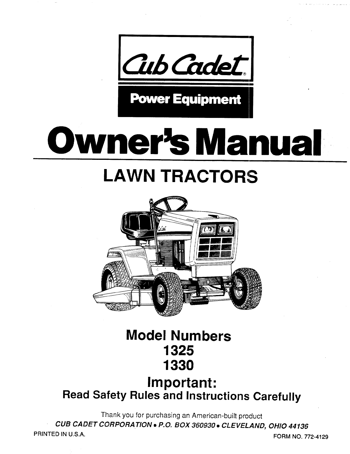 Cub Cadet Lawn Mower 1330 User Guide | Manualsonline inside Cub Cadet Mower Deck Parts Diagram