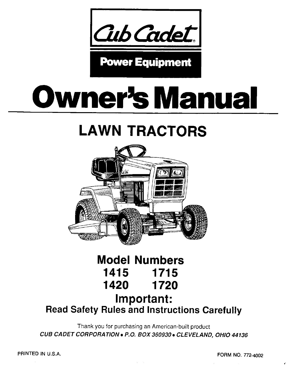 Cub Cadet Lawn Mower 1720 User Guide | Manualsonline for Cub Cadet Lawn Mower Parts Diagrams