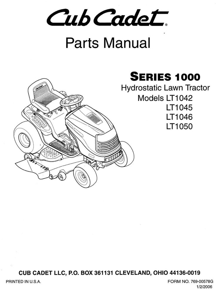 Cub Cadet Lt1042 Lt1045 Lt1046 Lt1050 Parts Manual | Ebay intended for Cub Cadet Lt1042 Parts Diagram