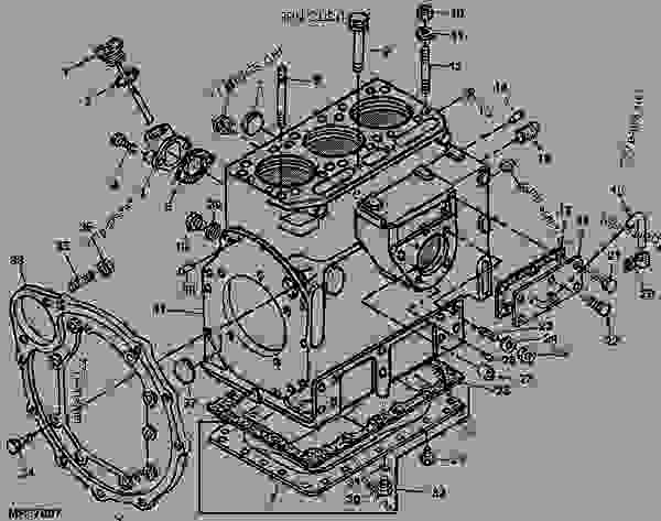 Cylinder Block Parts [5] - Tractor, Compact Utility John Deere 850 with John Deere 1050 Parts Diagram