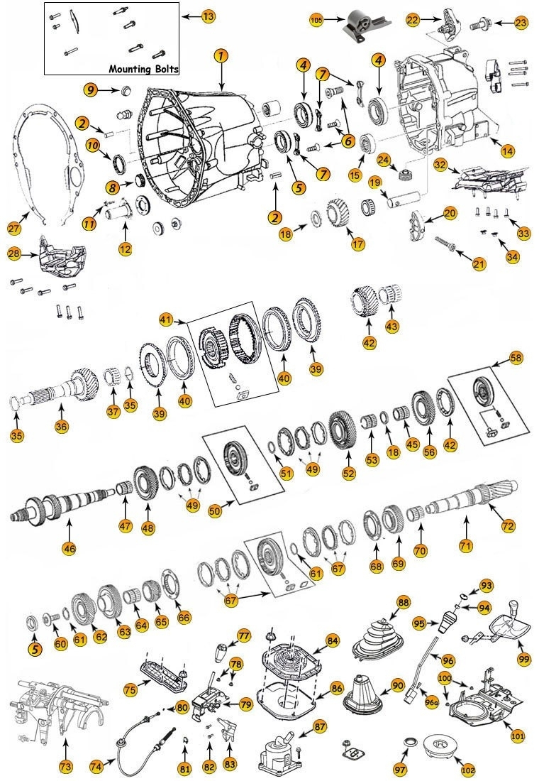 Daimler Nsg370 6-Speed Transmission Parts - Jeep 4X4 inside 1999 Jeep Grand Cherokee Parts Diagram