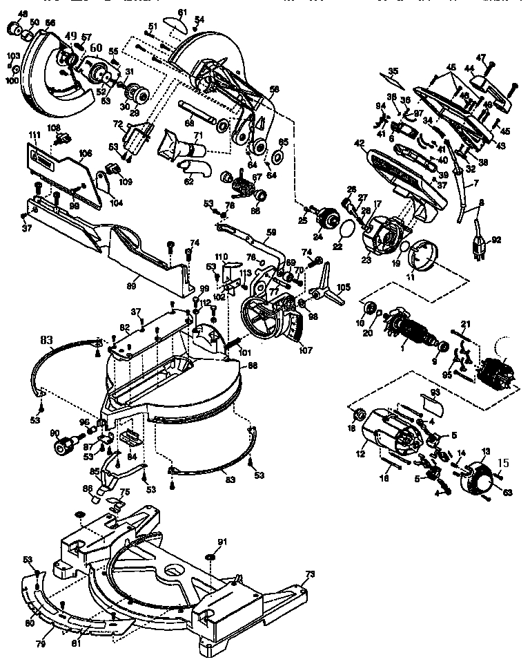 dewalt 12 miter saw parts model dw705 sears partsdirect in dewalt chop saw parts diagram dewalt 12\