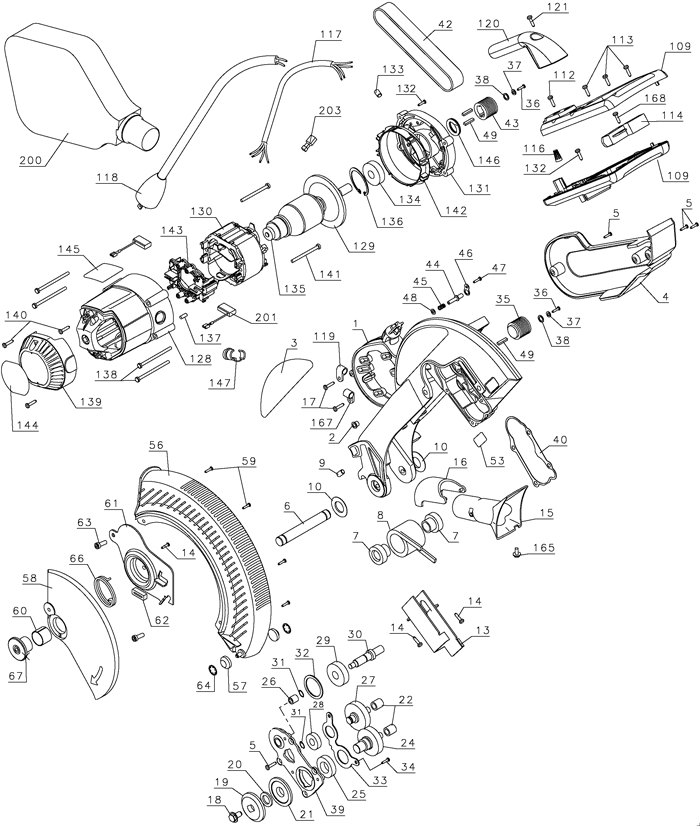 Dewalt Dw706 12 Dual Bevel Miter Saw Parts (Type 1) Parts inside Dewalt Miter Saw Parts Diagram