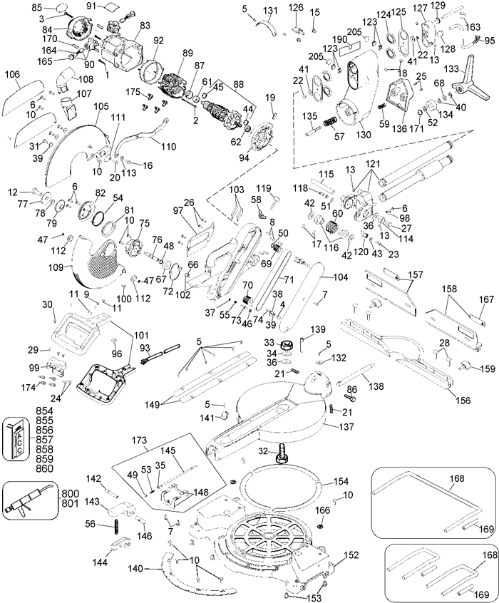 Dewalt Dw708 Crosscut Miter Saw Parts (Type 3) Parts with Dewalt Chop Saw Parts Diagram
