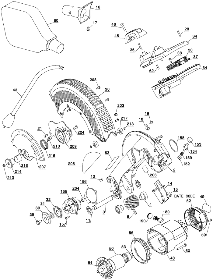 Dewalt Dw715 Miter Saw Parts (Type 3) Parts intended for Dewalt Chop Saw Parts Diagram
