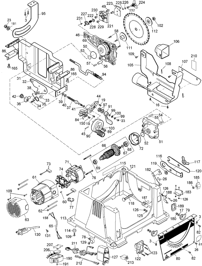 Dewalt Dw744 Portable Table Saw Parts (Type 5) Parts intended for Dewalt Table Saw Parts Diagram
