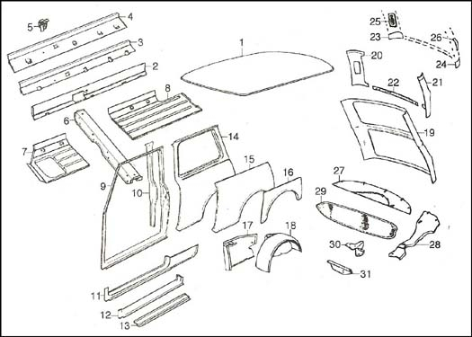 Diagram, Body Side & Rear for Car Exterior Body Parts Diagram